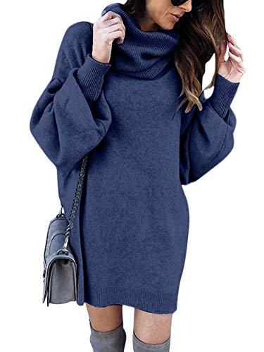 Minetom Damen Pullover Kleid Rollkragen Minikleid Winterkleid Strickkleid Warm Langarm Oversize Stricksweat Strickpullover Lose Sweatkleid Blau DE 42