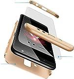 Happy 1st Funda para Samsung Galaxy C9 Pro, 3 in 1 Rígida PC Carcasa Cristal Protector de Pantalla- 360 Grados Protección Cubierta Anti-rasguños Protectora de Teléfono Case Cover -Oro