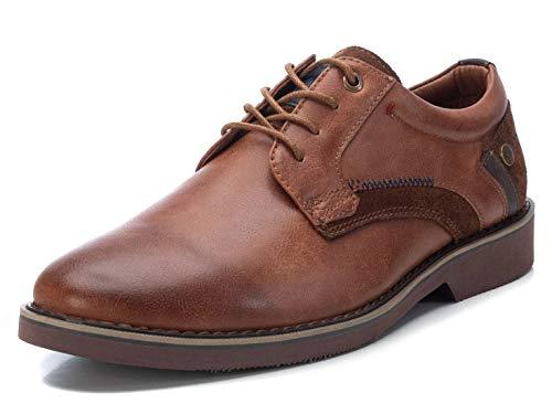 XTI - Zapato Oxford para Hombre - Cierre con Cordones - Color Camel - Talla 40