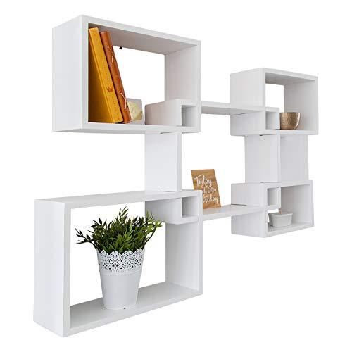 Comfify Estantes flotantes rústicos de Forma Cuadrada montados en la Pared - Juego de 5 estantes Cuadrados para el baño la - Exhibición de decoración de Pared para el hogar - Blanco