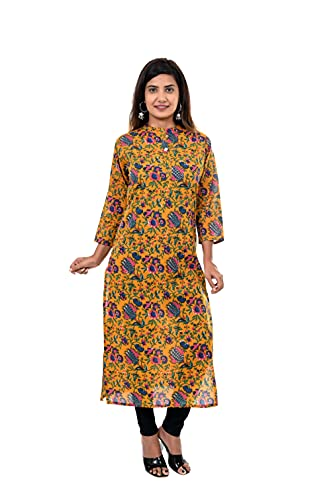 ANUSHKA Women's Kurta Printed Anarkali Dress Chinese Collar Neck Cotton