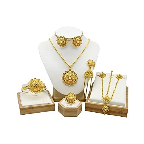 XiaoG Sets de joyería de Novia de Novia 24k Chapado en Oro Etiopian Headwear Pendientes Pendientes Pulsera Anillo (Color : Gold)
