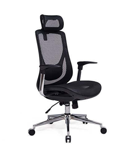 VIVA OFFICE High Back Executive Mesh Chair with Adjustable Headrest