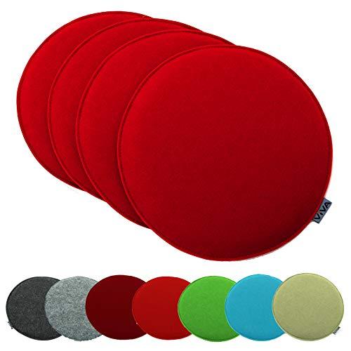 heimtexland ® 4er Pack Sitzkissen Filz Rund 35 cm Rot Filzkissen Stuhlkissen Polster Auflage Kissen Typ631