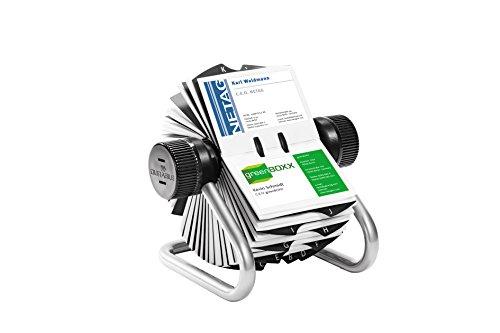 Durable 248123 Visifix Rollkartei, für 400 Visitenkarten, Register A-Z, metallic silber