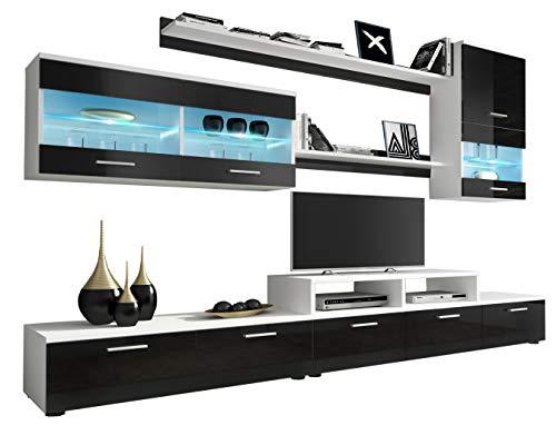 LUK Furniture Wohnwand ALFA Schwarz Hochglanz Schrankwand Anbauwand Mediawand TV-Schrank mit LED-Beleuchtung Wohnzimmerschrank Wohnzimmer (Schwarz Hochglanz)