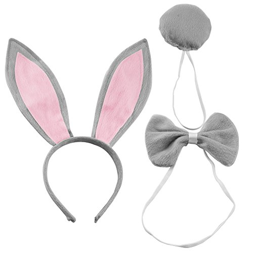 CHUANGLI Women's Rabbit Ears Headband Tail Bow Tie Party Plush Bunny Costume (Pack of 3) Grey