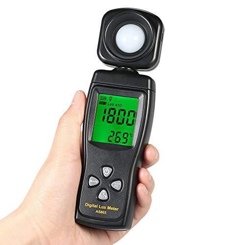 Digitales Beleuchtungsstärkemessgerät, Handheld-Beleuchtungsstärkemessgerät, Lux / FC-Einheit mit Datenhaltung und Hintergrundbeleuchtung, Lux-Messgerät mit 0-200000 Lux für Pflanzen und LED-Leuchten