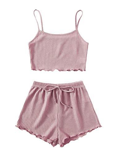 Soly Hux - Conjunto de pijama para mujer con camisa y pantalón corto de 2 piezas, ropa de noche, conjunto de relajación de verano casual rosa S