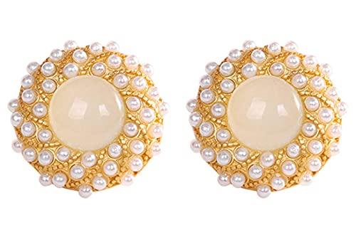 WHFY aretes hechos a mano aros Pendientes de perla de plata de ley 925 Pendientes de botón de cuentas redondas de jade blanco de jade de Hetian chapado en oro Adecuado para mujeres y niñas E
