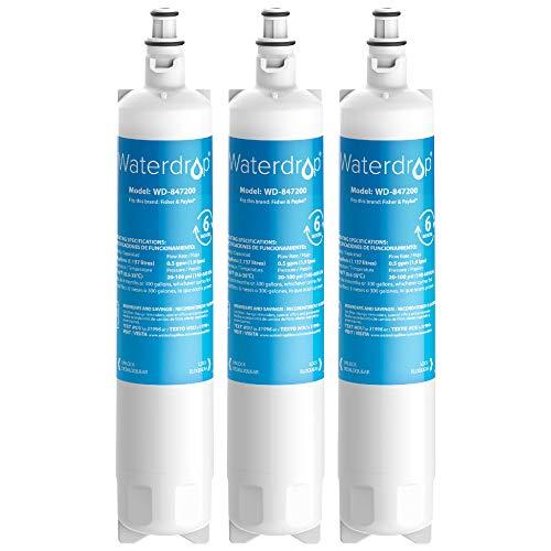 Waterdrop 847200 Kühschrank Wasserfilter Ersatz für Fisher & Paykel 847200; RS9120W Activesmart Integrated; RF522ADUX5; RF610, RF605Q, RS9120, RF522, RS90A, RS36 (3)