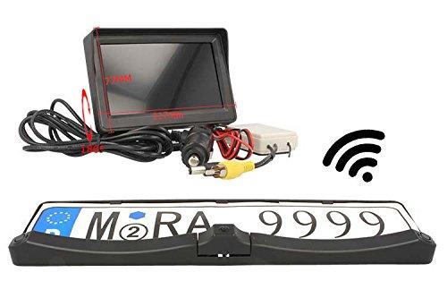 Kit Retromarcia Telecamera Porta Targa Monitor Wireless 4,3'' Con 2 Sensori Di Parcheggio