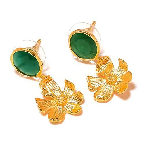 jewels house Pendientes colgantes de flor de ónix verde, chapados en oro, hechos a mano, para mujer
