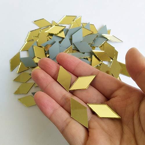 RUIXUAN - Espejo De Mosaico Con Forma De Diamante Para Decoración Del Hogar (Espejo De Cristal De Oro Amarillo, 1/2 X 2,5 Cm)