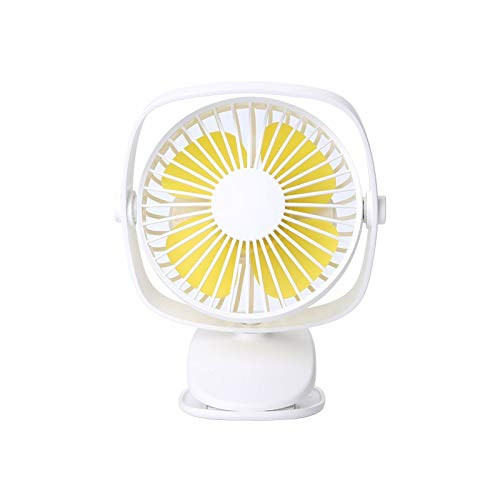 Mini Clip op Wandelwagen Ventilator, 3 Snelheden Personal Desk Fan met USB oplaadbare batterij uitgevoerd 360 ° rotatie voor thuis babybed kantoor auto buiten (Color : White)