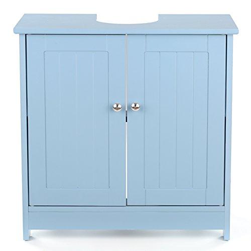 IKAYAA Armadietto sotto Lavabo in Legno,Blu per sotto Il lavello Mobiletto da Bagno 60 x 29 x 60cm