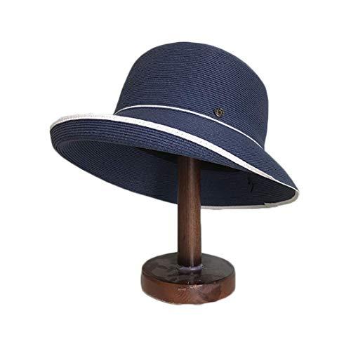 WXDP Sombrero resistente al viento, moda en verano y para mujer, asimétrico, se puede plegar en una gorra suave para mujer (color: azul marino, tamaño: ajustable).
