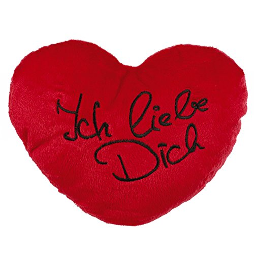 Out of the blue Rotes Plüschherz Ich Liebe Dich ca. 35 cm - Das Herzkissen für Partner - Für Männer & Frauen - Die Kuschelkissen-Geschenkidee für Hochzeit, Valentinstag & Verlobung