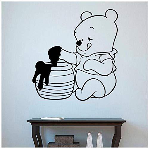 Hanzeze kleine beer muur sticker kinderkamer schattige beer eten honing vinyl muursticker art 57x60 cm