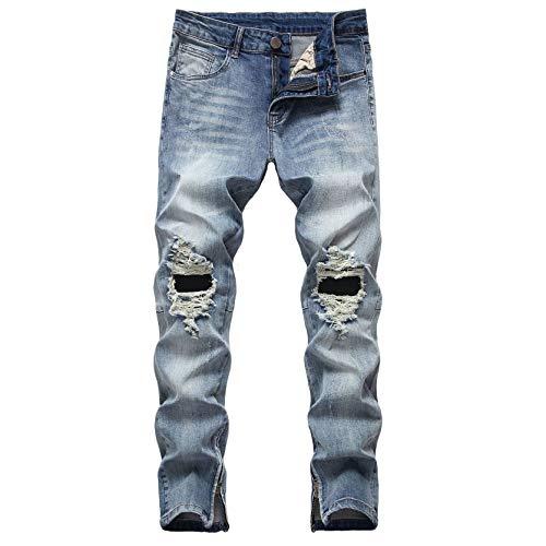 Zerrissene ReißVerschluss Jeans FüR Herren Knierisse Stretch ReißVerschluss Im Distressed Look Vintage Skinny Jeanshose (34,Blau)