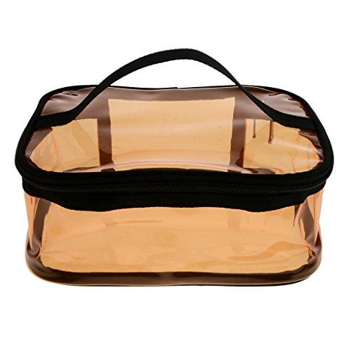 N\C Marrón PVC Travel Clear Wallet Monedero Cosmético Neceser de Lavado Bolsa de Almacenamiento de Maquillaje Bolsa con Cremallera- 3 Estilos - 1#, Individual