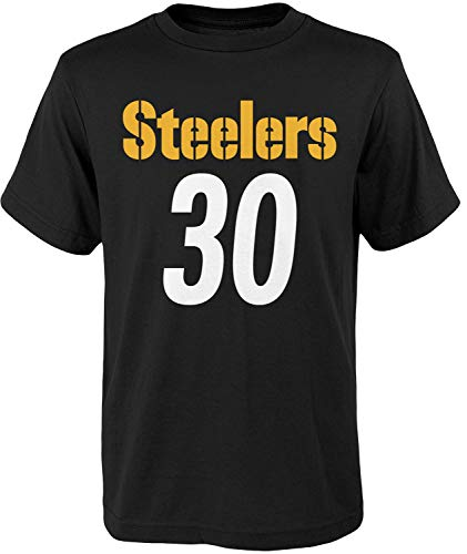 NFL Kids Youth Team Color Alternate Mainliner Name and Number Player T-Shirt (Medium (10-12), James Conner Pittsburgh Steelers Home Black)