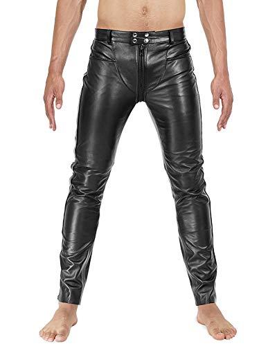 Bockle® 3 Gay-Zip Lederhose Herren Lederhose mit durchgehendem Reißverschluss Zip, Size: 38W / 36L