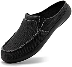 House Slippers for Men Arch Support Indoor Outdoor Winter Slip on Walking Shoes Orthotic Non Slip Canvas Bedroom Orthopedic Plantar Fasciitis Flat Feet Pain Relief Clogs Velvet Slippers Black Size 12