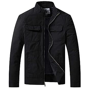 WenVen Men s Casual Lightweight Safari Jacket Cotton Windbreaker  Black L