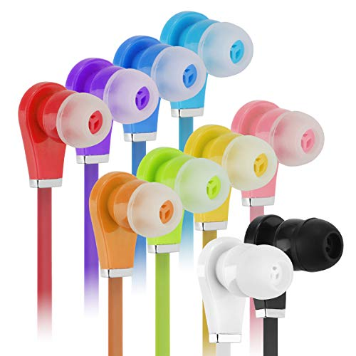 Bulk Earbuds with Microphone - Wholesale 100 Pack Earphones Noodle Headphone with Mic Multi Colored Ear Buds Bulk for School Classroom Students Kids and Adult (100Pack, Mix10Colors)