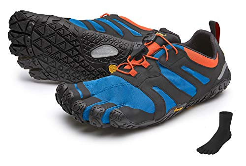 Fivefingers Vibram V-Trail 2.0 - Calcetines con dedos para hombre (talla 43), color azul y naranja