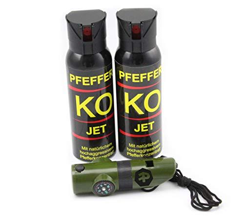 BALLISTOL Verteidigungsspray Pfeffer KO Jet 2 Dosen mit je 100 ml Pfefferspray bis zu 5 m Reichweite inkl. Signalpfeife 6in1