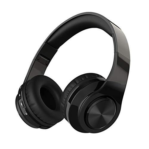 Opvouwbare hoofdtelefoon Bas Op het oor Bekabeld Stereo Draadloos Bluetooth Headset voor over het oor met microfoon voor bellen en spraakbediening,Black