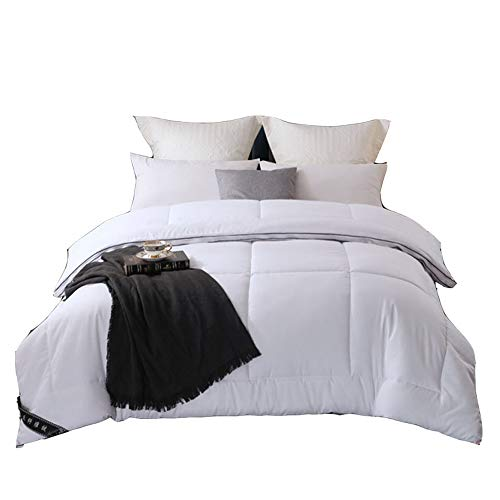 VEDKYY All Seasons Duvet Double 13.5 Tog Heavy Duvet Double Quilt 15 Tog Cotbed Duvet Anti Allergy Climate Control Duvet King Size Bedding Lightweight, 2 in 1,White,King (4.5+9tog)