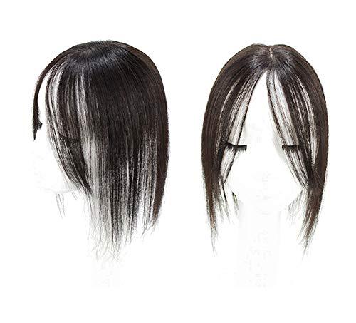 """Yanamy Clip en 3D Couronne Toppers 3""""x4"""" Mono Base de Cheveux Humains Véritable Perruque Cheveux pour l'amincissement Noir naturel 12"""""""