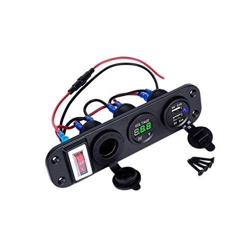 MeiZi 4 En 1 Doble QC3.0 Energía del Cargador De C-igarette Encendedor Interruptor De La Toma del Voltímetro Digital con Rocker Y Elegante del Control De Bluetooth (Color Name : Black)