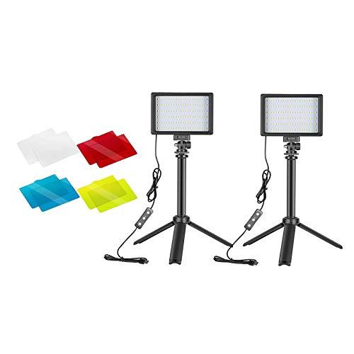 B Blesiya 2 Paquetes de 5600K USB LED Kit de luz de vídeo con trípode y filtros de Color para Mesa Youtube