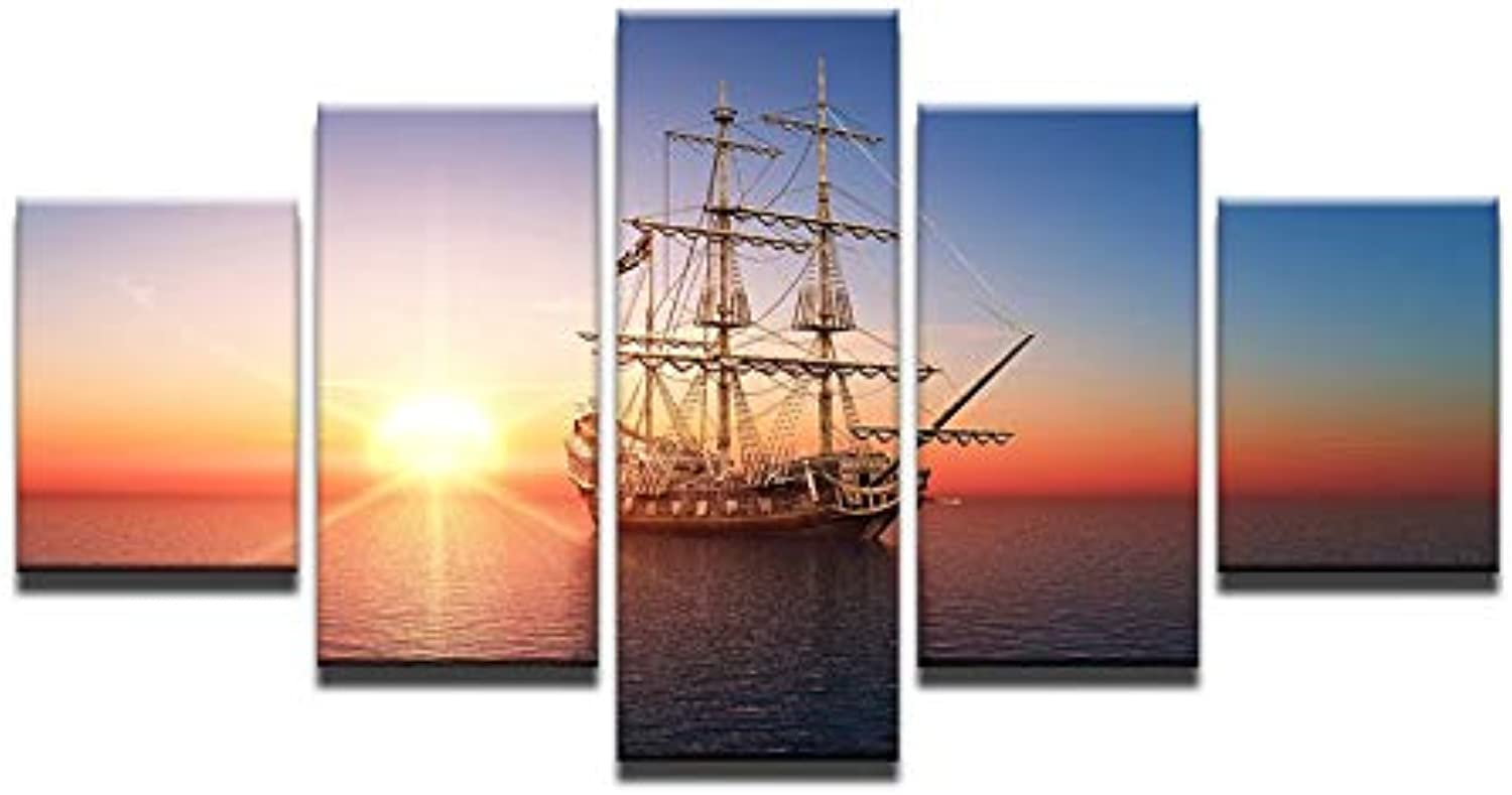 Modular Canvas Painting Home Decor for Living Room Canvas Art Printed 5 Pieces Sunset Sailboat Sea View Wall Pictures