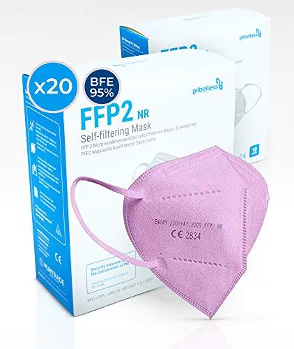 Mascarilla FFP2 Color Rosa - (Caja 20 Unidades). Certificado CE - Ultraresistente ≥99% anti-filtración - Individualmente Embolsado - Mascarillas Desechables