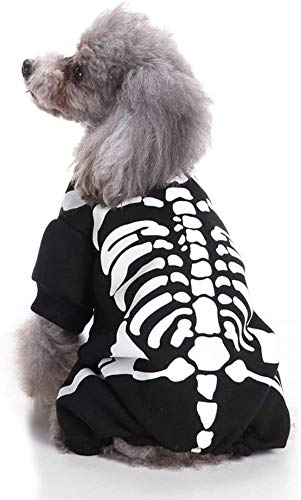 Wizland Pet Jumpsuit Halloween Skeleton Dog Costumes Clothes Apparel for Puppy Dog Cat Small