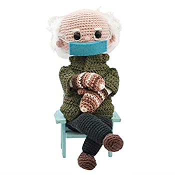 ZBRO Handmade Wool Plush Knitting Bernie Sanders Character Doll Toy - The Dolls Clothes Glasses Gloves and Other Accessories are All Detachable