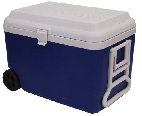 Epicurean Europe koelbox met wielen, polypropyleen, 61 x 40 x 45 cm, 50 l, blauw/wit