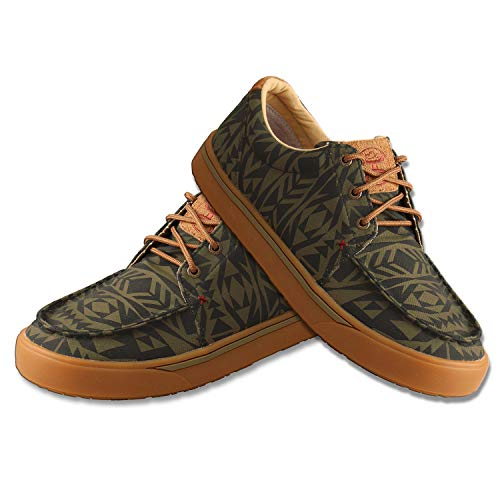 Twisted X Men's Hooey Loper - Slip-on or Lace-up Moisture-Wicking Loper Shoes for Men - Designed with Blended Rice Husk and Durable ecoTWX Material, Olive & Black, 13 M