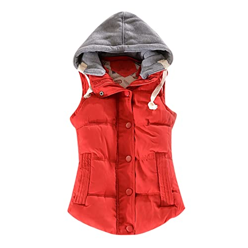 Womens Winter Hooded Vest Coats Casual Fashion Zipper Buttons Loose Jacket Sleeveless Solid Color Warm Outerwear Tops Orange