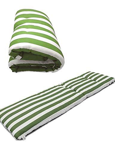 Cisne 2013, S.L. Cuscino materasso per sedia a sdraio o mobile per giardino, spiaggia, esterni, morbido cuscino per seduta terrazza, ecc. Dimensioni 180 x 50 x 5 cm, motivo a righe verdi