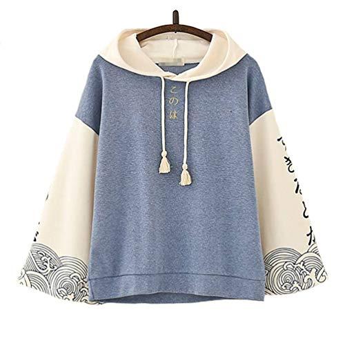 TieNew Chaqueta con Capucha Caliente con borlas de Dos Colores, Diseño de impresión de Texto Japonés complicado para niñas Adolescentes, Camisa de Suéter de Manga Larga Linda Mujer