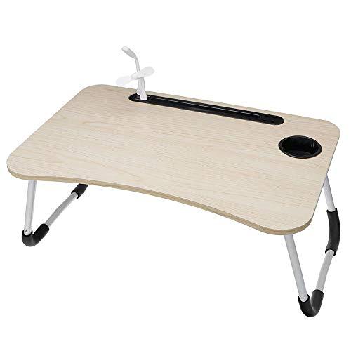 Soporte plegable para ordenador portátil, mesa de estudio, lámpara de escritorio, ventilador USB, mesa de madera, para escritorio, cama, sofá, mesa de café, 60 x 40 x 28 cm, color marfil