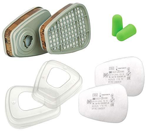 3M Filtri 6055 A2 per Vapori Organici con 3M Filtro 5925 antiparticolato P2R con 3M Ghiera di Fissagio 501 e con SmartProduct Tappi per orecchie