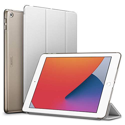 ESR Capa para iPad 10.2 2019 (7ª geração), capa inteligente com três dobras, capa leve Auto Sleep/Wake, capa traseira rígida para iPad 7ª geração 2019, cinza prateado