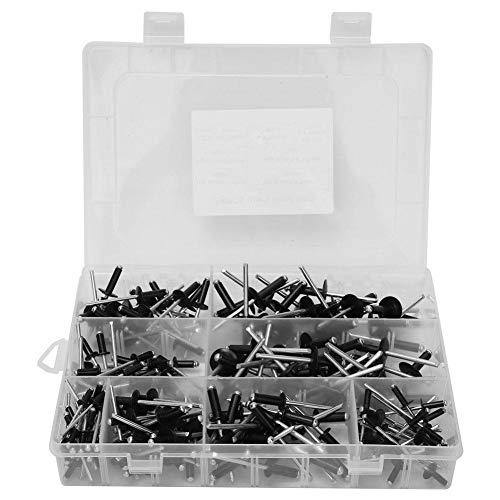 Kit assortimento di rivetti ciechi in alluminio da 200 pezzi, metrico 8 valori Rivetti a strappo con...